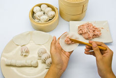 Manufacture of dim sum stock photography