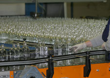 Manufacture of glass bottles. At factory royalty free stock images