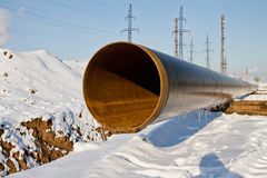 Manufacture of intermediates for the pipeline in the winter Stock Photography