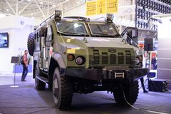 Manufacture of medical armored vehicles at a specialized exhibition. Kiev, Ukraine - October 12, 2017: Manufacture of medical armored vehicles at a specialized Stock Images