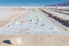 Manufacture of natural salt bricks, Uyuni salt flat, Bolivia Stock Photography