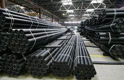 Manufacture pvc pipes. Warehouse ready pvc pipes at factory on their manufacture stock photos