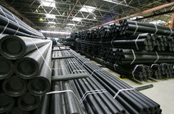 Manufacture pvc pipes. Warehouse ready pvc pipes at factory on their manufacture royalty free stock photos