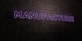 MANUFACTURE -Realistic Neon Sign on Brick Wall background - 3D rendered royalty free stock image Royalty Free Stock Photo