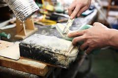 Manufacture, shoemaking workshop Stock Photos