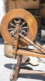 Manufacture, traditional spinning wheel for wool yarn, craft anc Stock Image