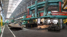 Manufacture of water turbines. The huge machine turbine producti Royalty Free Stock Photo