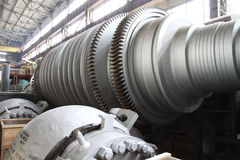 Manufacture of water turbines. The huge machine turbine production. Large parts of the plant. Industrial production of turbines for heavy industry. Huge steel Stock Image
