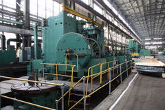 Manufacture of water turbines. The huge machine turbine production. Large parts of the plant. Stock Photos