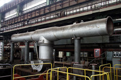 Manufacture of water turbines. The huge machine turbine production. Large parts of the plant. Royalty Free Stock Image