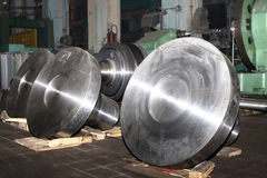 Manufacture of water turbines. The huge machine turbine production. Large parts of the plant. Industrial production of turbines for heavy industry. Huge steel Royalty Free Stock Photo