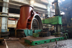 Manufacture of water turbines. The huge machine turbine production. Large parts of the plant. Royalty Free Stock Photos