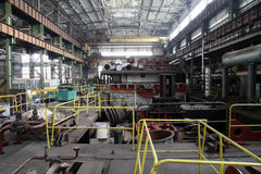 Manufacture of water turbines. The huge machine turbine production. Large parts of the plant. Royalty Free Stock Photo