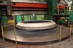 Manufacture of water turbines. The huge machine turbine production. Large parts of the plant. Royalty Free Stock Photography