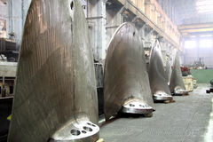Manufacture of water turbines. The huge machine turbine production. Large parts of the plant. Stock Images