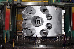 Manufacture of water turbines. The huge machine turbine production. Large parts of the plant. Royalty Free Stock Images