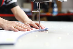 Manufacture of wearing apparel, cutting room. Stock Photo