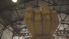 Manufacture of wood glued beams. LVL Laminated Veneer Lumbe. stock video
