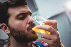 Manufacturer drinking beer at brewery Royalty Free Stock Photo