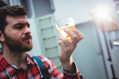 Manufacturer holding beer glass at brewery Stock Image