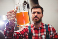 Manufacturer holding beer in jug Stock Image