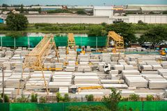 Manufacturer of precast concrete being processing transfer mater stock photography