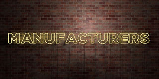MANUFACTURERS - fluorescent Neon tube Sign on brickwork - Front view - 3D rendered royalty free stock picture. Can be used for online banner ads and direct Stock Images