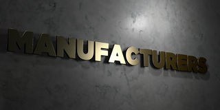 Manufacturers - Gold text on black background - 3D rendered royalty free stock picture. This image can be used for an online website banner ad or a print Royalty Free Stock Image