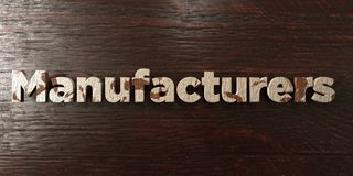 Manufacturers - grungy wooden headline on Maple  - 3D rendered royalty free stock image. This image can be used for an online website banner ad or a print Stock Images
