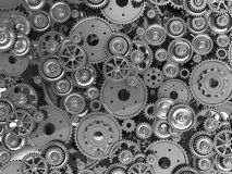 Manufacturing. 3d manufacturing: background of metal gears Stock Image