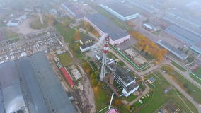 Manufacturing area in industrial city. Arial view park production plant stock footage