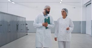 Manufacturing bakery industry baker and engineer walking through the factory chatting concentrated engineer man holding. A map stock video