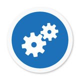 Manufacturing button. An illustration of manufacturing button or settings symbol with two gears together royalty free stock photos