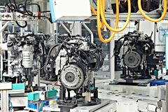 Manufacturing of car engine Stock Photos
