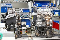 Manufacturing of car engine Stock Image