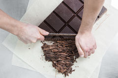 Manufacturing of chocolate candies Stock Image