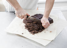 Manufacturing of chocolate candies Royalty Free Stock Photo
