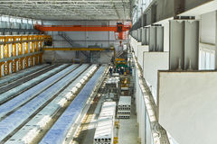 Manufacturing concrete slabs. reinforced concrete production Stock Photos