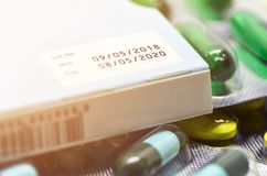 Manufacturing date and expiry date on some pharmaceutical packaging. royalty free stock photo