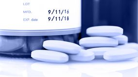 Manufacturing date and expiry date on some pharmaceutical packaging. stock photos