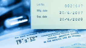 Manufacturing date and expiry date. stock images
