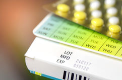 Manufacturing date and expiry date on some pharmaceutical packag Royalty Free Stock Photography
