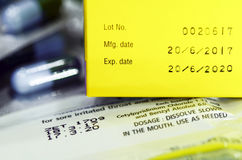 Manufacturing date and expiry date. Manufacturing date and expiry date on some pharmaceutical packaging Stock Image