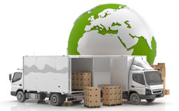 Manufacturing in Europe. Made in Europe. Transportation from Europe. Trucks to transport goods by road Stock Photography
