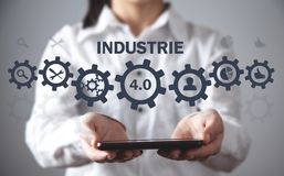 Manufacturing evolutions. Industrie 4.0 concept royalty free stock images