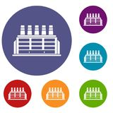 Manufacturing factory building icons set Stock Image