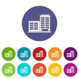 Manufacturing factory building set icons Royalty Free Stock Photography