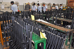 Manufacturing factory about shotguns Stock Photo