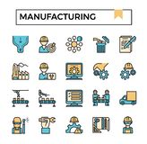 Manufacturing filled outline design icon set. For presentation, business project, industry website etc royalty free illustration