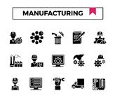 Manufacturing glyph design icon set. For presentation, business project, industry website etc royalty free illustration